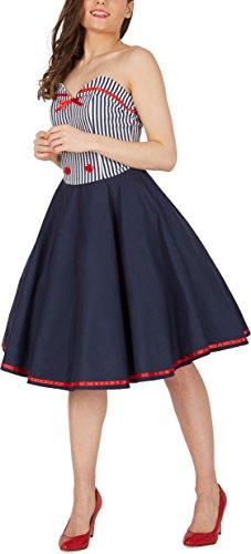 BlackButterfly 'Naomi' Vintage Marine Kleid im 50er-Jahre-Stil (Blau, EUR 38 – S) - 5