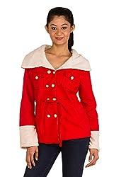 Modo Vivendi   Winter Warm Woolen Fur Coats for Women (X-Large, Red)