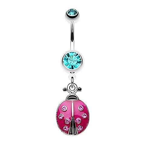 WildKlass Jewelry Women's Adorable Ladybug Sparkle Ring Teal Fuchsia