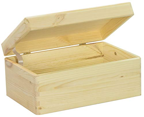 LAUBLUST - Holzkiste zur Aufbewahrung in Größe M - Kiefer Unbehandelt ca. 30 x 20 x 14 cm - Kiste mit Runden Kanten und Deckel aus Vollholz
