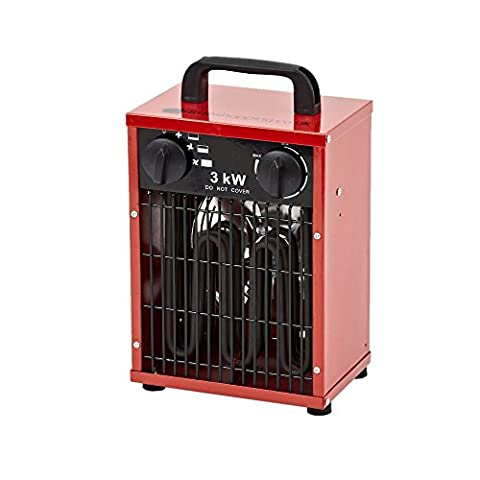 Trueshopping® 3KW Space Heater Electric Fan Portable Industrial Workshop Garage Square 2580KCAL 10,200BTU