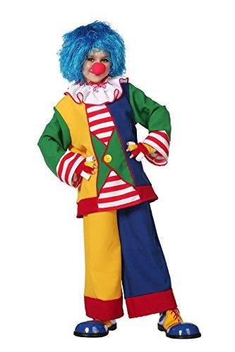 Clown Kinder Fantasy Kostüm - The Fantasy Tailors Clown-Kostüm Kinder bunt Oberteil mit Kragen und Hose Regenbogen Karneval Fasching Hochwertige Verkleidung Größe 140 Multi