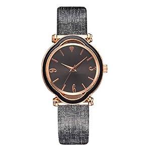 Damen Armbanduhr KiyomiQvQ Modischer Unregelmäßiger Blütenblatt Gehäuse Uhren PU Armband Watch Klassische Schwarz Zifferblatt Markenuhren Frauen Mode Analog Quartz Digitaluhren Watch