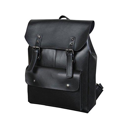 Crazy Horse PU Leder Rucksack Schultasche Laptop Große Kapazität Reise Geschäft für Männer und Frauen (Schwarz)