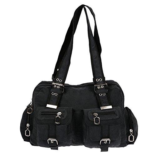 Christian Wippermann Damenhandtasche Schultertasche aus Canvas Schwarz (Stoff Handtasche)