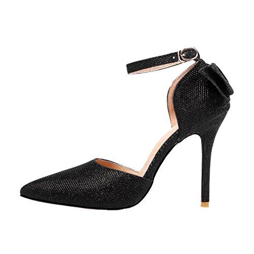 YE Damen Spitze Ankle Strap High Heels Stiletto Glitzer