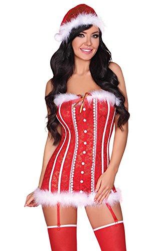 chts-Korsett mit weihnachtlichen Details im Set mit String, Mütze und exklusiver Satin-Augenbinde made in EU, rot/weiß, Gr. L/XL (Rote Leder Teufel Kostüm)