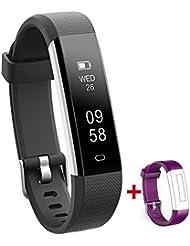NAKOSITE RAY2434 Meilleur Podomètre marche tracker d'activité Montre connectée sport Femme Homme Bracelet connecté, Calcul calories brûlées, moniteur de sommeil, Distance, Chronometre. Se connecte UNIQUEMENT aux iPhones et Android. Connexion Bluetooth 4.0 requise, pour Android 4.4 ou IOS 7.1 et plus. SMS, Caller ID, Alarme, Fonction Anti Perte de Téléphone, Retrouver le Téléphone, Prendre des Photos, Alertes SNS pour WhatsApp, Instagram et Facebook. Couleur Noire. PLUS: Sangle Violet