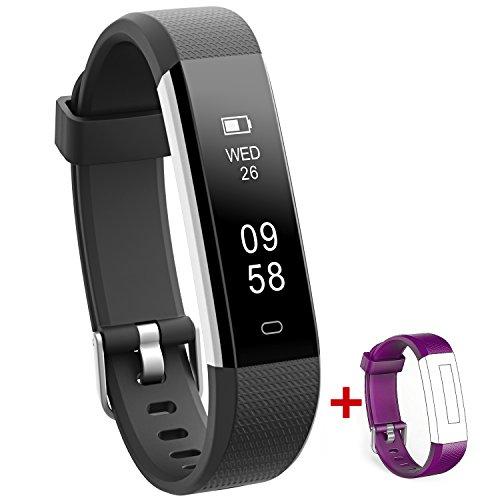 NAKOSITE RAY2434 Bester Schrittzähler Armband Uhr Fitness Trackers Aktivitäten Tracker Damen Herren Kinder, Kalorienzähler, Schlafüberwachung, Distanz, Stoppuhr, mit Lauf App von VeryFitPro. Verbindet sich NUR mit iPhone und Android Telefonen. Erfordert Bluetooth 4.0, für Android 4.4 oder IOS 7.1 und neuer. SMS, Anrufer ID, Alarm, Anti-Telefonverlust, Telefon Finden, Bilder Aufnehmen, SNS Benachrichtigungen, wie WhatsApp, Instagram, Facebook usw. Farbe Schwarz. Ersatz Lila Band