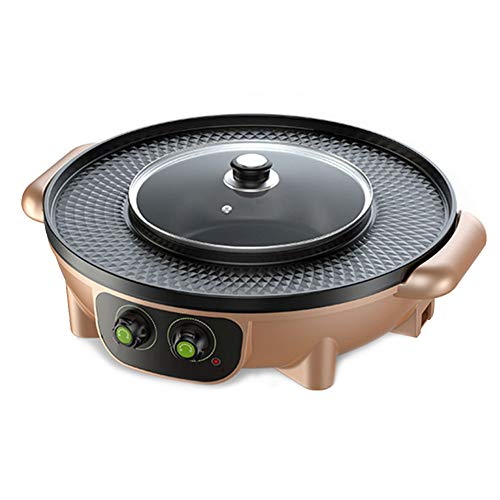 LJIE Korean Barbecue Hot Pot Doppeltopf, Integrierte Kochtopf, Elektrische Hot Pot Elektrische Barbecue Elektrische Backform,Gold