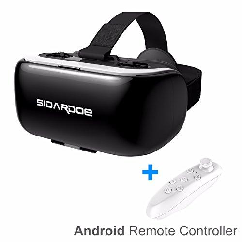 SIDARDOE VR Headset 3D VR Brille Virtual Reality Headset 360 Grad Panorama Videos und 3D Filme Anti-Bluelight Design kompatibel für 3.5-6 Zoll IOS Android Smartphones Schwarz