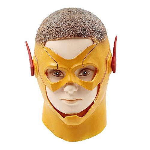Die Flash Maske Halloween Cosplay Kostüm Gelb Latex Full Head Helm Masken Erwachsene Männer Kinder Kostüm Zubehör,Yellow-OneSize