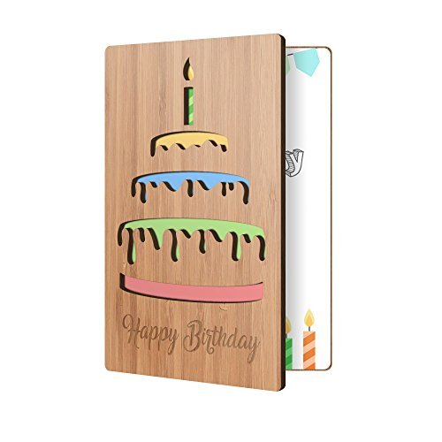 Happy Birthday Karte: echtem Bambus Holz Grußkarte mit Geburtstag Kuchen Design, Premium Handgefertigt, Holz-Karte ideal Geschenk für Versand von Birthday Wishes