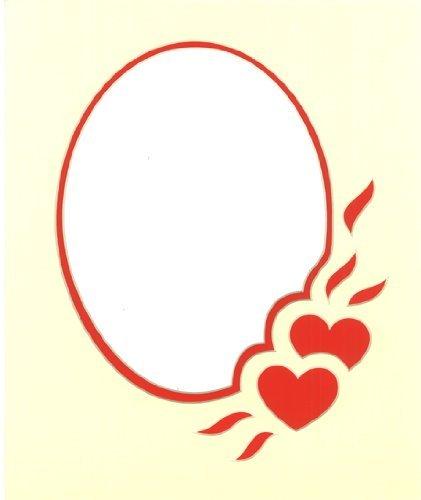 Herz Design Pre Cut Mount, Farbe Creme auf Rot -