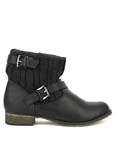 Cendriyon, Bottine Simili cuir DESIKALS Mode Chaussures Femme Noir