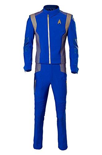 Star Cosplay Costume Blue Mens Command Uniform Suit Herren ()