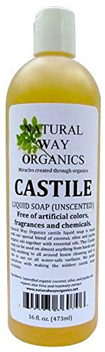 Natural Way Organics Ultra Mild Unscented Castile Soap - Perfect for Natural Skin Care and Hair Care - Make Your Own DIY Green Cleaning Products - 100% Pure - No Artificial Chemicals, Fragrances or Colorants