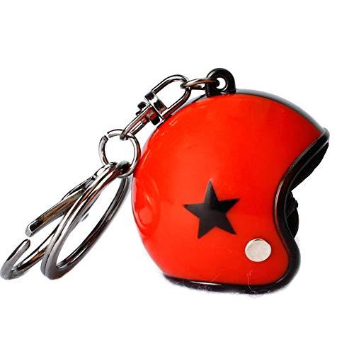 Llavero rojo casco de moto y estrella negra