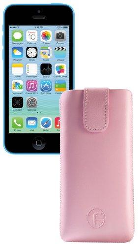 Original Favory ® Etui Tasche für / iPhone 5C / Leder Etui Handytasche Ledertasche Schutzhülle Case Hülle *Lasche mit Rückzugfunktion* In ROSA Rosa