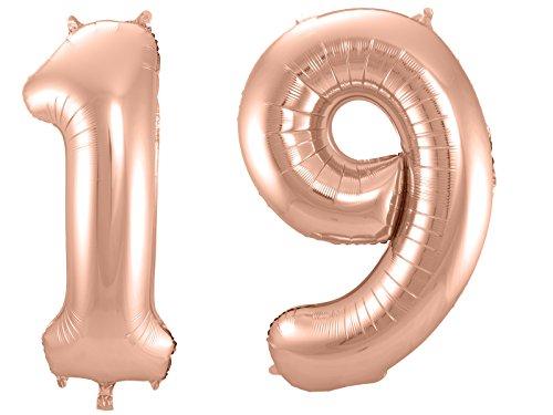 Folat 800099 - Folienballon - Zahl 19 - rosegold - ca. 86 cm hoch