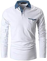 GHYUGR Polo para Hombre Mangas Largas Denim Costura Camisas Algodón Slim  Fit Camiseta Golf Poloshirt T aff38b07a7b64