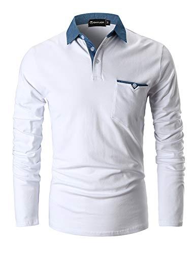 GHYUGR Polo da Uomo Manica Lunga Maglietta Cotone Cuciture Denim Collare Casuale Poloshirt Camicia Golf T ShirtSBianco