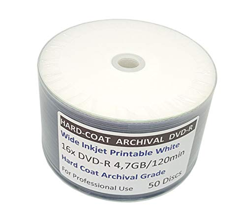 graphic relating to Printable Dvd Rohlinge named 50 Bedruckbare DVD Rohlinge Existence Archival Quality Complicated-Coat MP-Expert DVD-R 4,7 GB 16x Extensive Inkjet Printable weiß, für Langzeit-Archivierung geeignet