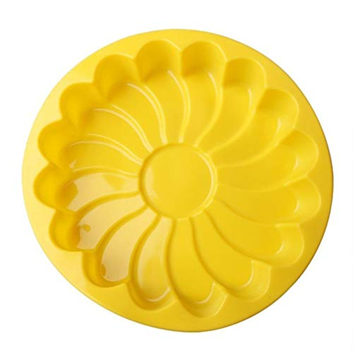 JOMSK Silikon Backform Sonne Blume Backform Pan Silikon Backform DIY Kuchen Dekoratives Werkzeug, Gelb - Flan Cake Pan