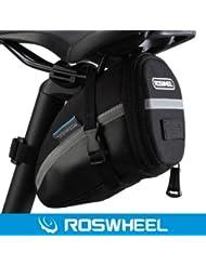 Roswheel Bolsa de Bicicleta Bolso para Sillín Alforjas Tija Sillín de Ciclismo Impermeable de Montar del Asiento de la Bicicleta del el Paquete Plegable de la Cola para Bicicletas de Montaña y de Carretera Asiento Paquete,Color Negro