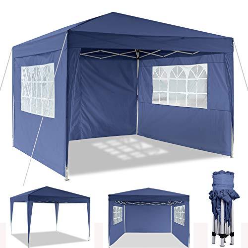 3x3m/3x6m Faltpavillon, Pavillon, wasserdicht gartenpavillon, festzelt partyzelt hochklappbare Gazebo Festival Sonnenschut (3x3m, Blau)