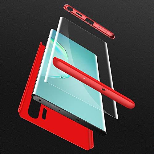 HOJKCY Coque Compatible avec Samsung Galaxy Note 10 Plus,Étui 360 Degree Antichoc Protection Matte PC 3 en 1 Anti-Scratch Full Body Cover Housse Bumper Case +Protège Écran Verre Rouge