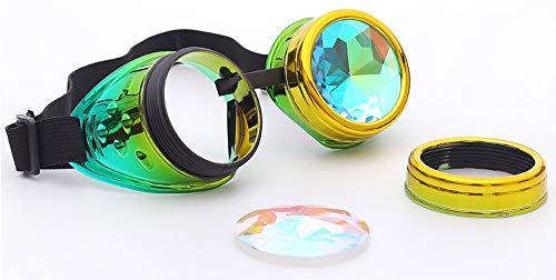 KOLCY Steampunk Brillen Coole Schutzbrillen Kaleidoskop Partybrillen Mischfarbe Gelb mit Grün Rund Schmuck Sonnenbrille Accessoire Retro Einstellbar