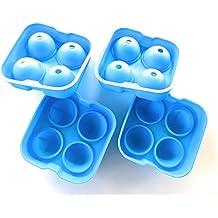 2er SET_Saft, Gin Tonic & Whisky Gläser lieben diese Kugeln! Eiskugelform aus Silikon für riesen Eiskugeln je 4,5 cm, Eiswürfelbehälter oder Eiswürfelform als Eiskugel mit speziellem Dichtungsring! (Blau)