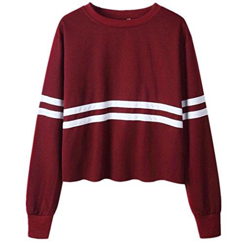 WOCACHI Damen Blusen Mode Frauen Langarm O-Ausschnitt Streifen Gedruckt Kurz Tops Bluse Casual Sweatshirt (S/32, (Jugendliche Themen Party Kostüm Für)