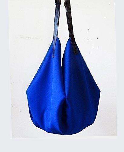 Borsa tracolla pelle e cotone blu cobalto limited edition BBagdesign.