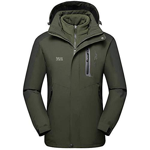 Balcony&falcony giacca da uomo, giacca 3 in 1 resistente all'acqua giacca softshell uomo impermeabile giubbino uomo pile rimovibile con cappuccio regolabile, giubbotto uomo giacca da trekking montagna