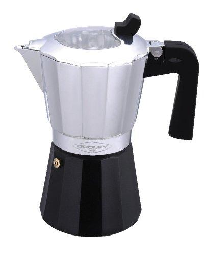 Oroley - Inducción Cafetera Italiana con Base de Acero Inoxidable para Todo Tipo de Cocinas, 9 Tazas