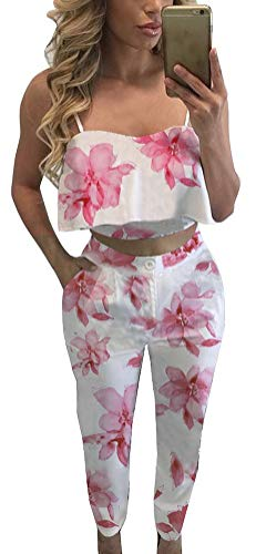 Fancyinn Conjunto Verano Mujer Pantalon Top Estampado