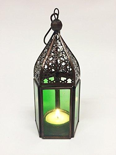 Orientalische Laterne aus Metall & Glas Meena grün 16cm | orientalisches Windlicht | Marokkanische Glaslaterne für innen | Marokkanisches Gartenwindlicht für draußen als Gartenlaterne