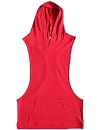 794aabacbb88 Herren Sport Lässige Kapuzenweste Gym Muscle Training T-Shirt Laufendes  Sweatshirt (Gelb, ...