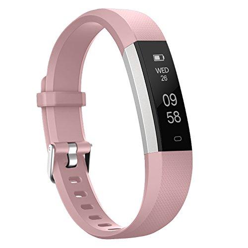 moreFit Slim 2 Fitness Tracker Bluetooth Smart Armband Uhr Touchscreen Schrittzähler Armband mit Schnalle für iphone 8/7/7 Plus / 6 / Samsung S8 / Galaxy / IOS / Android, Rosa