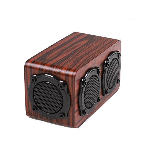 QAZWSX Holz Bluetooth Lautsprecher Wireless Dual Loudspeakeres Dual Bass Vibrationsmembrane Hochwertige Partable Stereo Lautsprecher