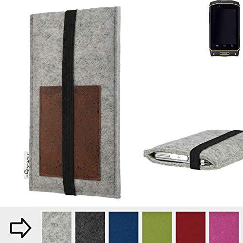 für Cyrus CS 19 Handyhülle Case SINTRA mit Kartenfach (Braun) und Gummiband-Verschluss (schwarz) - maßgefertigte Smartphone Tasche Schutz Hülle aus 100% Wollfilz (hellgrau) für Cyrus CS 19