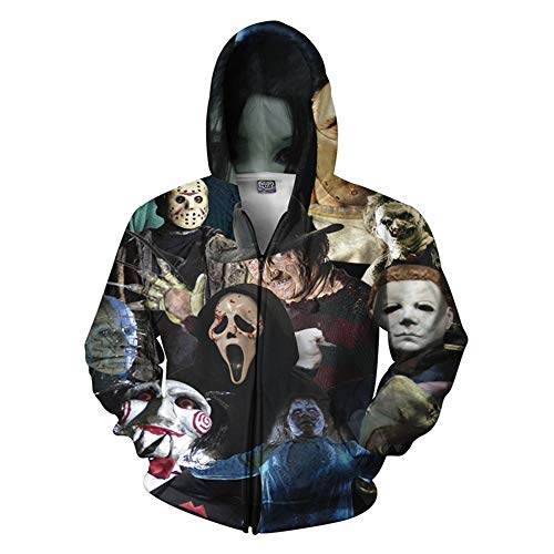 WSPZZWY Kapuzenpullover,Terror Männer Zip Up Hoodie, Kapuzensweatshirt Reißverschlussjacke Ms 3D-Druck Unisex, L, Fotofarbe