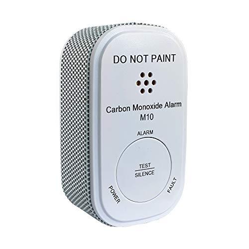 Nemaxx M10 Mini CO Melder mit 10-Jahres-Batterie, Kohlenmonoxid Gasmelder, Alarm 85 dB-Gaswarner der neusten Technologie 75 mm, Rauchmelder nach DIN EN50291, Weiß