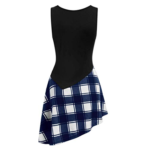LSAltd Sommer-Frauen-populäres klassisches Plaid-Patchwork schnüren Sich Oben asymmetrisches Minikleid-Damen-beiläufiges ärmelloses tägliches Schwingen-Kleid -