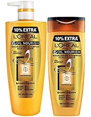 L'Oreal Paris 6 Oil Nourish Shampoo, 180 g (Pack of 2) with 640ml+3600 ml Combo Pack