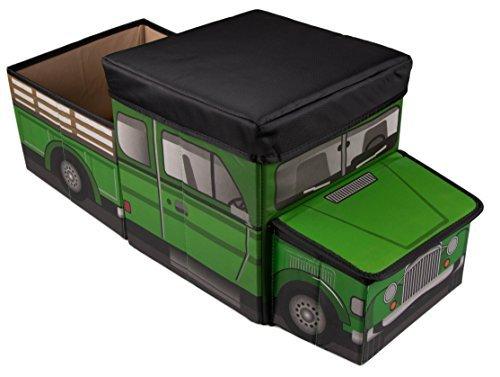 Clever Creations - Kinder Bauernhoffahrzeug-Aufbewahrungsbox - faltbare Spielzeugkiste & Sitzgelegenheit für das Kinderzimmer - perfekte Größe für Bücher, Spielzeug, Babybekleidung - Grün (Kasten-lkw-regale)