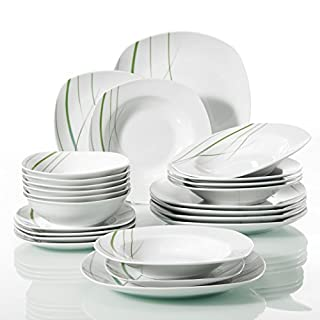 VEWEET 'Aviva' 24-Piece Ivory White Porcelain Green Lines Dinner Combi-Set China Tableware Set with Bowl Set and Plates Set Service for 6