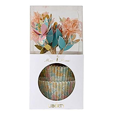 Meri Meri Kit pour cupcakes Motif Liberty Poppy et Daisy Motif floral